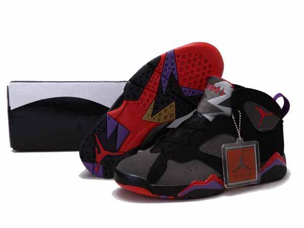 buy popular 5e301 29696 les plus belles photos en noir etlanc,Nike AIR Jordan 7 Femme Gris Noir  Rouge Violet
